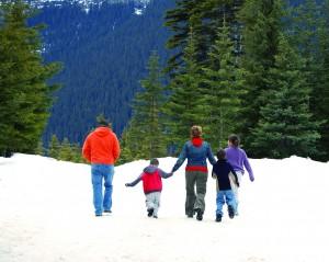 Family Hiking in Snow in Lake Tahoe