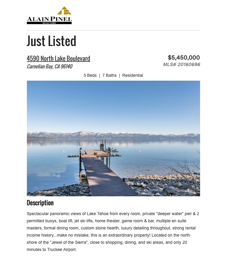 Granger Group Lake Tahoe Listing
