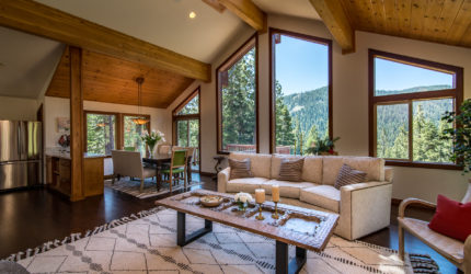 View of Family room of Tahoe home on Courchevel Road
