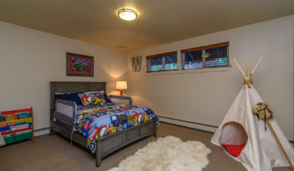 Child's room with carpeted floor and car themed bed