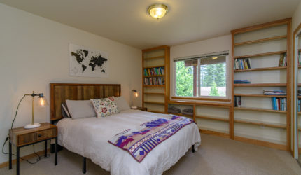 Bedroom with wall library