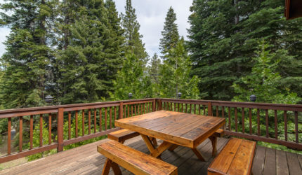 Balcony with picnic table overlooking pine forest